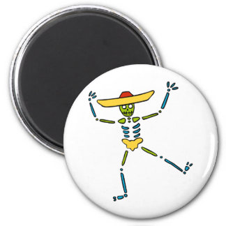 Colourful Mexican Dancing Skeleton 2 Inch Round Magnet