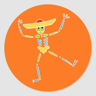 Colourful Mexican Dancing Skeleton Classic Round Sticker