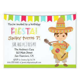 Colourful Mexican Fiesta Kids Birthday Party 4.25x5.5 Paper Invitation Card