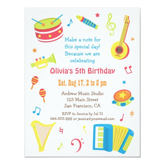 Kids Birthday Invite Colourful Music Instruments Party Card Zazzle Com
