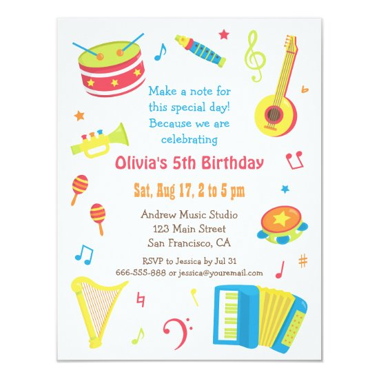 Colourful Music Instruments Kids Birthday Party Invitation