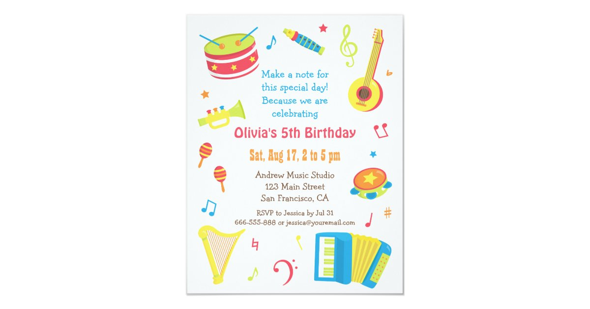 Colourful Music Instruments Kids Birthday Party Invitation | Zazzle.com