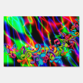 colourful music notes neon bright background color lawn sign