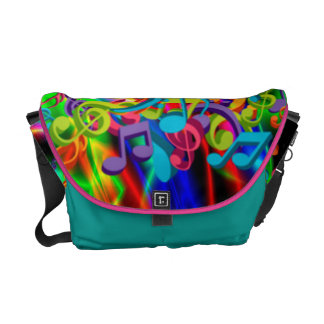 colourful music notes neon bright background messenger bag