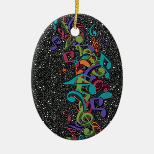Colourful Music Notes Sounds Black Glitter Effect Ceramic