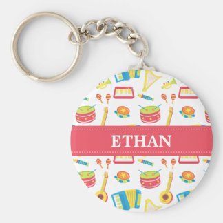 Colourful Musical Instruments Pattern For Kids Basic Round Button Keychain