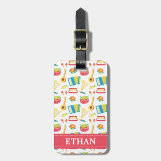 Colourful Musical Instruments Pattern For Kids Luggage Tag