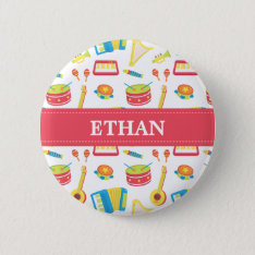 Colourful Musical Instruments Pattern For Kids Pinback Button at Zazzle