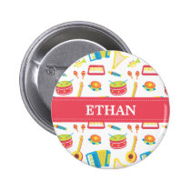 Colourful Musical Instruments Pattern For Kids Pinback Button