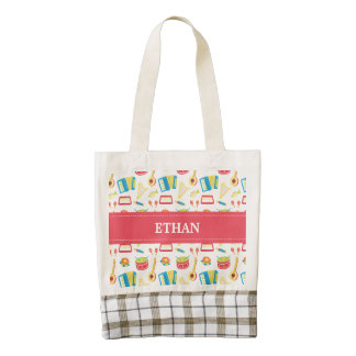 Colourful Musical Instruments Pattern For Kids Zazzle HEART Tote Bag
