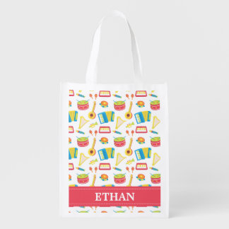 Colourful Musical Instruments Pattern For Kids Reusable Grocery Bag