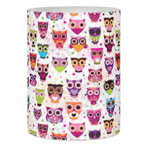 Colourful Owl Pattern For Kids 2 Flameless Candle