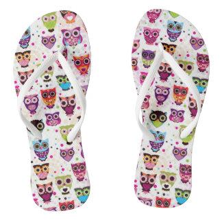 Colourful Owl Pattern For Kids 2 Flip Flops