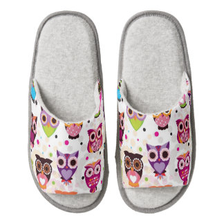 Colourful Owl Pattern For Kids 2 Pair Of Open Toe Slippers