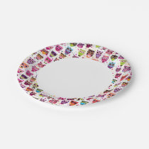 Colourful Owl Pattern For Kids 2 Paper Plate