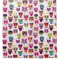 Colourful Owl Pattern For Kids 2 Shower Curtain