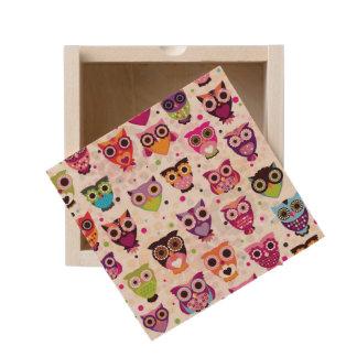 Colourful Owl Pattern For Kids 2 Wooden Keepsake Box