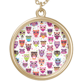 Colourful Owl Pattern For Kids Round Pendant Necklace