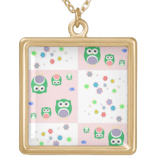 Colourful Owl Pattern For Kids Square Pendant Necklace