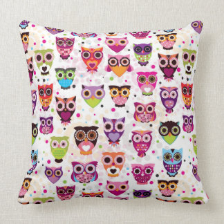 Colourful Owl Pattern For Kids Throw Pillow
