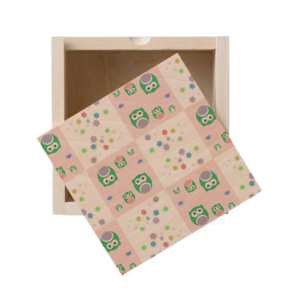 Colourful Owl Pattern For Kids Wooden Keepsake Box
