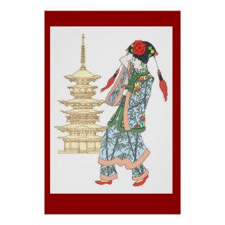 Colourful Pagoda Princess Poster