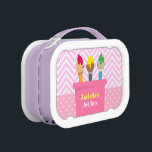 """Colourful Paint Brushes Artists Art Box For Girls<br><div class=""""desc"""">Instead of using this as a lunch box, how about using it as an art box for the little girl to keep all her bits and pieces of arts and crafts supplies all in one box. This colourful box has three paintbrushes each with a different colour. A zigzag chevron pattern...</div>"""