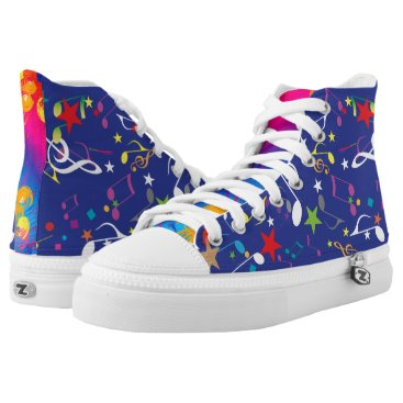USA Themed Colourful Paint Splashes Musical Notes Abstract High-Top Sneakers