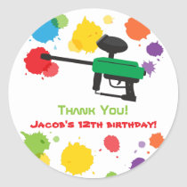 Colourful Paintball Boys Birthday Party Stickers