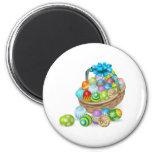 Colourful painted Easter eggs basket Fridge Magnet
