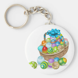 Colourful painted Easter eggs basket Keychain