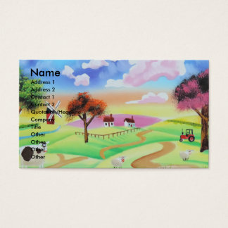 Colourful painting of cow and sheep Gordon Bruce Business Card