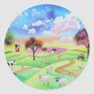 Colourful painting of cow and sheep Gordon Bruce Classic Round Sticker