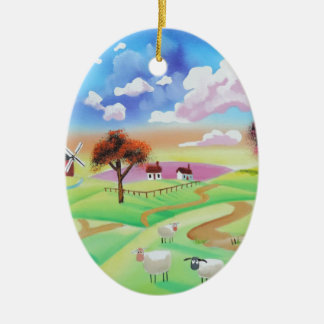 Colourful painting of cow and sheep Gordon Bruce Double-Sided Oval Ceramic Christmas Ornament