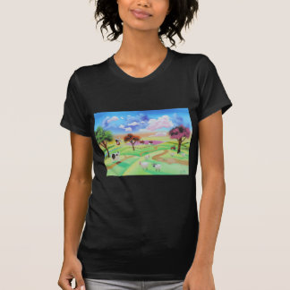 Colourful painting of cow and sheep Gordon Bruce T-Shirt