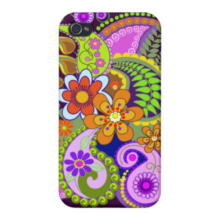 Colourful Paisley Patterns and Flowers Cases For iPhone 4