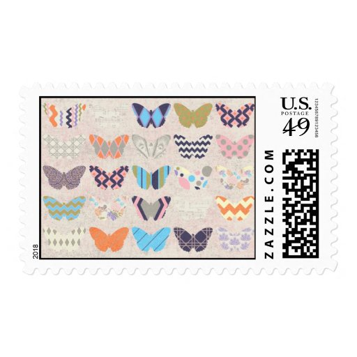 COLOURFUL PAPER BUTTERFLIES PATTERNS DIGITAL ASSOR POSTAGE STAMPS