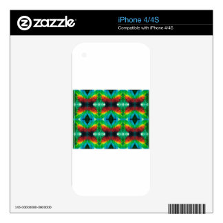 Colourful Parrot feathers pattern Decals For The iPhone 4S