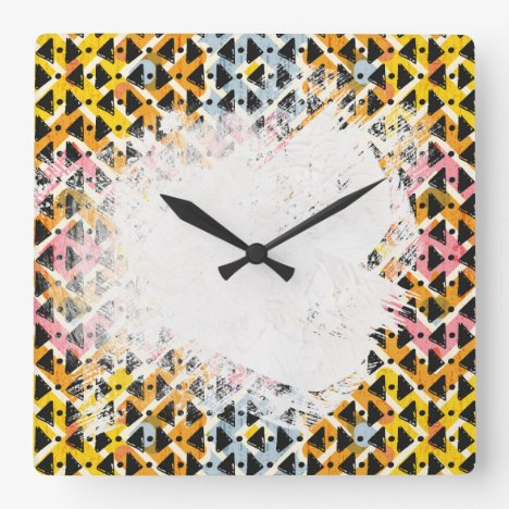 colourful patterned criss cross diamond shaped square wall clock