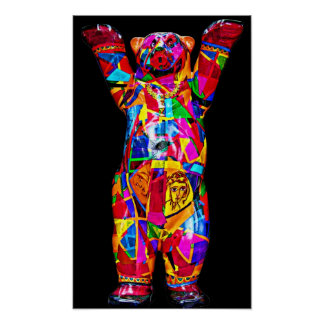 Colourful Patterned Teddy Bear, Black Back (pst) Poster