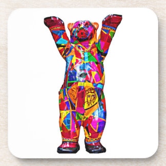 Colourful Patterned Teddy Bear, White Back (pst) Coaster