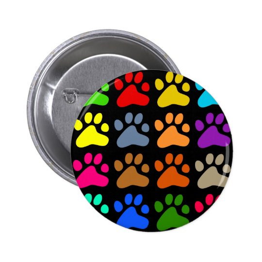 Colourful Paws Pinback Button