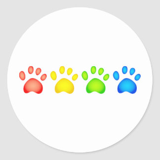 Colourful Paws Classic Round Sticker