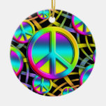 colourful PEACE Christmas Ornament