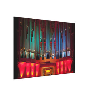 Colourful pipe organ wrapped canvas stretched canvas print