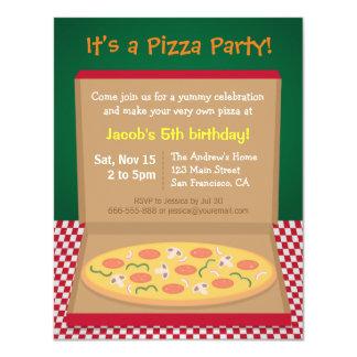 "Colourful Pizza Kids Birthday Party 4.25"" X 5.5"" Invitation Card"