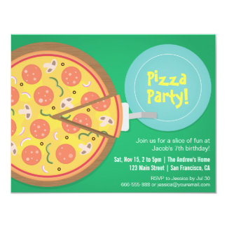 Colourful Pizza Movie Teens Birthday Party 4.25x5.5 Paper Invitation Card