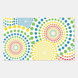 Colourful pointillism pattern rectangular sticker