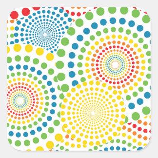 Colourful pointillism pattern square sticker