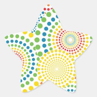 Colourful pointillism pattern star sticker